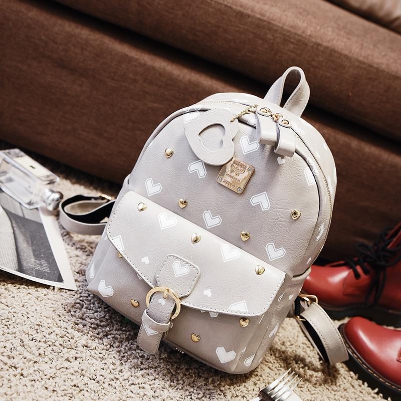New Cute Heart Embroidery Backpack Wemen Korean Style Fresh Style Backpack Preppy Style Backpack Rivet Sweet