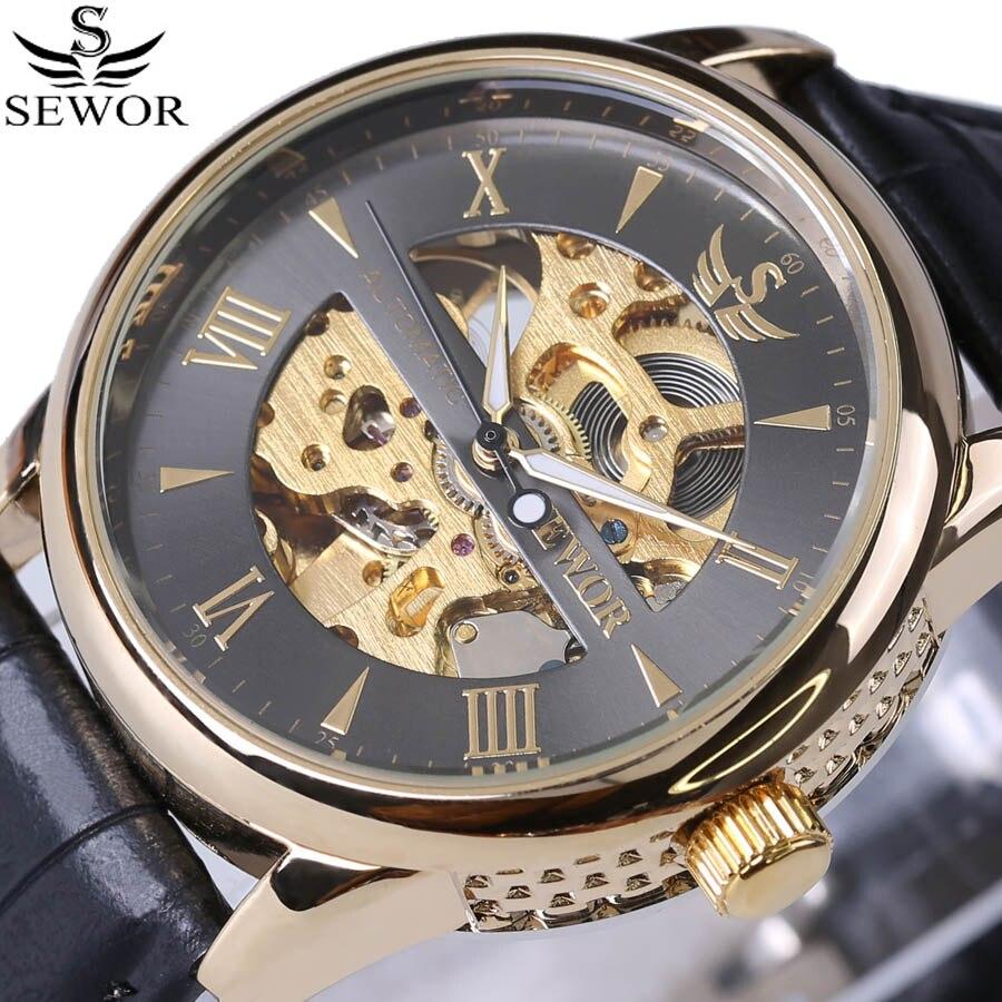 Luxury Brand Vintage Skeleton Wristwatch Leather Men Watches automatic Mechanical Watch Antique clock male erkek kol