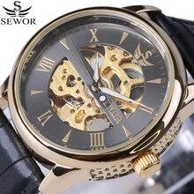 Marque de luxe Vintage Squelette Montre-Bracelet En Cuir Hommes Montres automatique Mécanique Montre Antique horloge mâle erkek kol saatleri