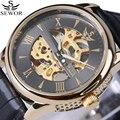 Marca de luxo Esqueleto Relógio de Pulso Homens Relógios Relógio Mecânico automático Relógio de Couro Antigo Do Vintage relógio masculino erkek kol saatleri