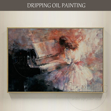 Artist Hand-painted High Quality Impression Wall Art Playing Piano Oil Painting on Canvas Large Play