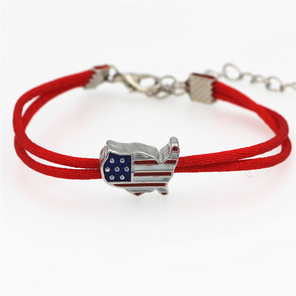American Flag big hole Charm Red String Bracelet Adjustable Braiding Lucky Rope Bracelets For Women Men kids Handmade Jewelry