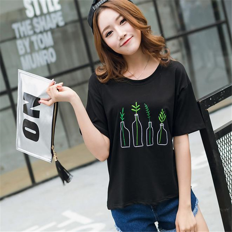 8603c57a552f Merry Pretty New Summer Korean Style Women T Shirt Harajuku Bottle Plants  Pattern Kawaii Embroidery Cotton Tee Shirt Cute Tops-in T-Shirts from  Women s ...