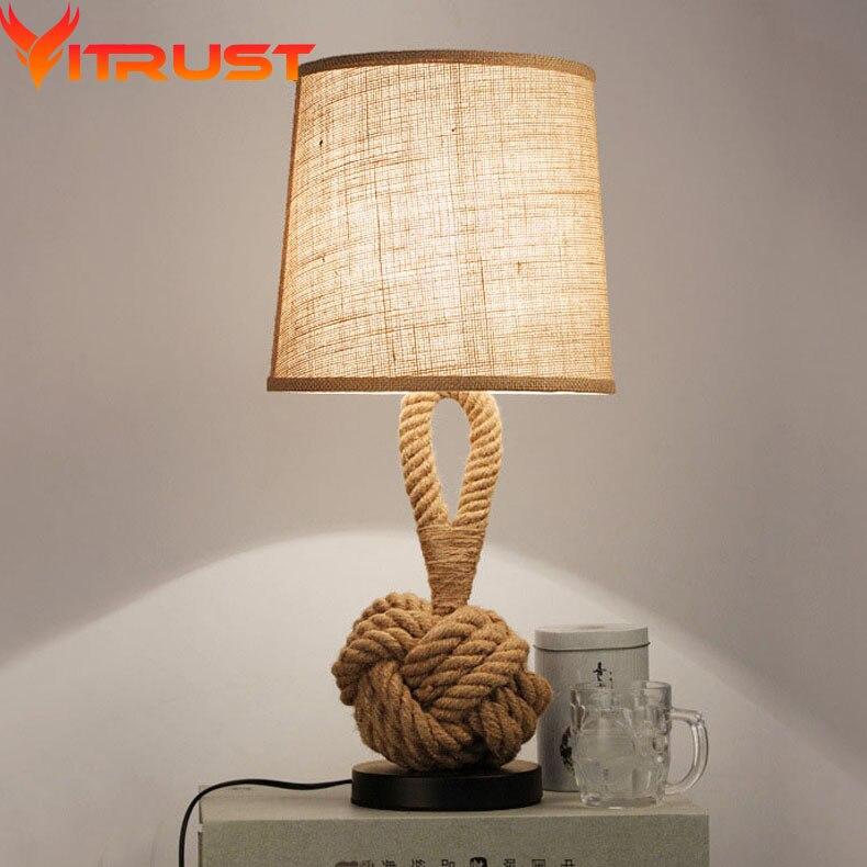 Vintage Lampe de Table de mesa lampe Vintage mesaLamps Corde Lampes de Table LED Lampes de Chambre à coucher