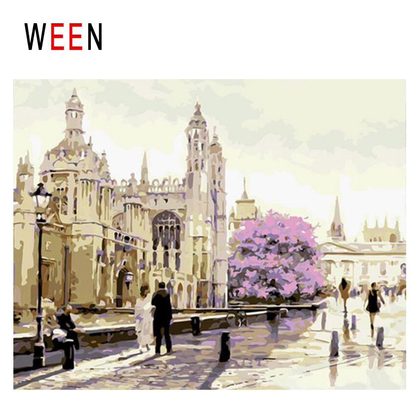 WEEN London Church Diy Painting By Numbers Abstract Square People Oil Painting On Canvas Cuadros Decoracion Acrylic Home Decor in Painting Calligraphy from Home Garden