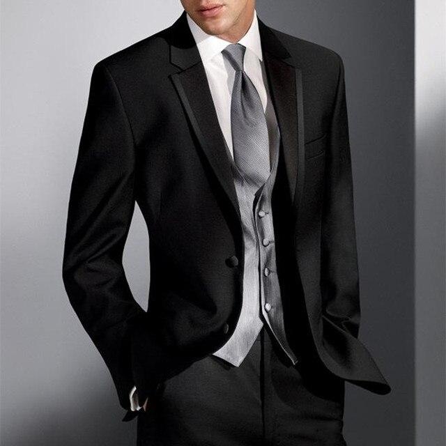 04aaca13f6 Estilo clásico dos botones negro novio Esmoquin padrinos de boda Trajes  vestido 5 unidades hombres traje