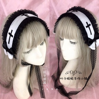 Japanese Gothic Style Girls Cross KC Headband Lolita Female Lace Bowknot Headwear Cosplay Punk Hair band Hairpin Accessories