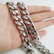 Granny Chic 316L Stainless Steel 13/15mm Heavy Silver Curb Mens Cuban Chain Necklace Or Bracelet Jewelry 7-40
