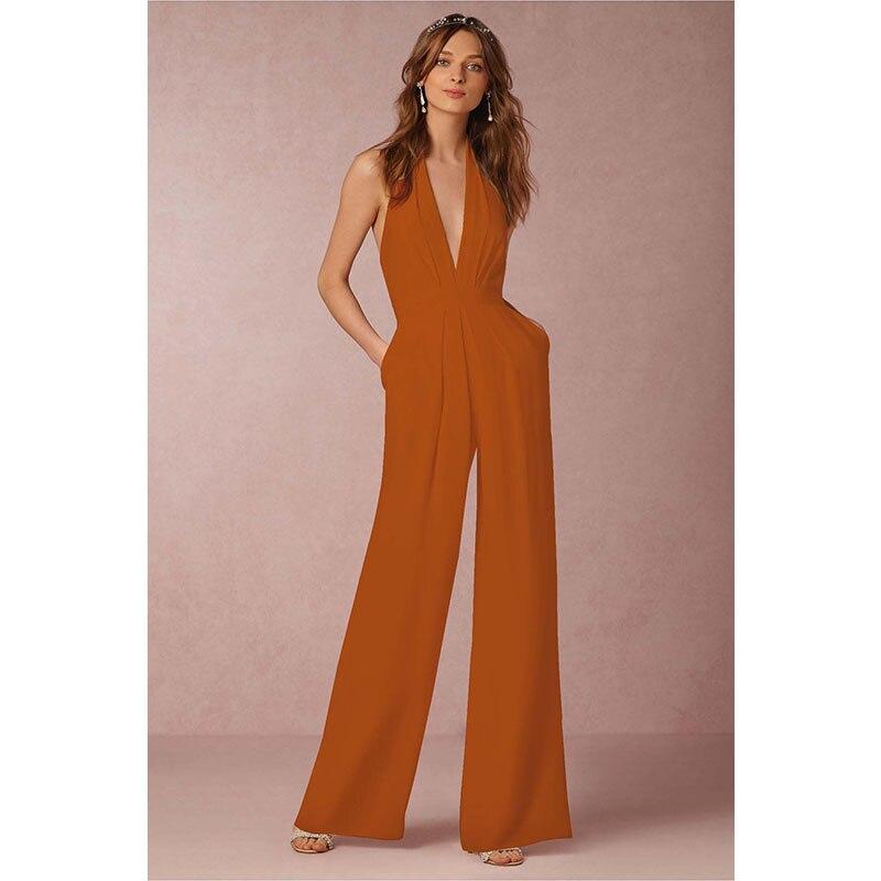 947fb0f095 Body Women Sexy Deep V Neck Overalls Halter Long Pants Jumpsuits Plus Size  Elegant Body Feminino