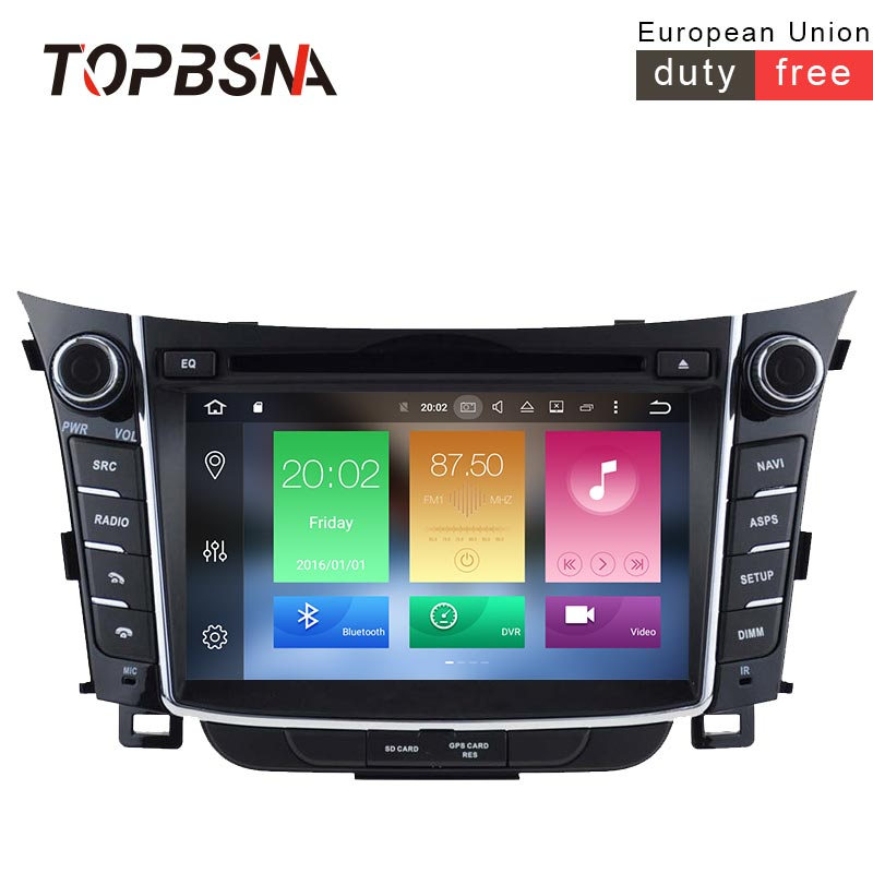 TOPBSNA 2 DIN 4G+32G Android 8.0 Car DVD Player For HYUNDAI i30 2011 2012 2013 Multimedia GPS Navigation Radio Audio WIFI Stereo