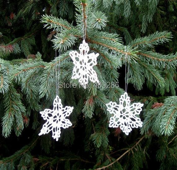 white crochet snowflakes winter christmas decoration lace snowflakes winter wedding shabby chic - Handmade Shabby Chic Christmas Decorations