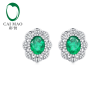 CaiMao 14KT/585 White Gold 1.68ct Emerald AAA  0.48 ct Round Cut Diamond Engagement Earrings Jewelry