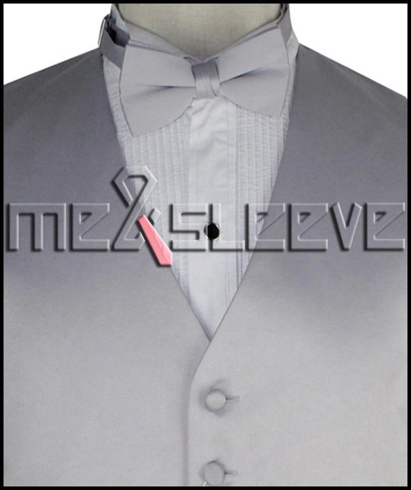 hot sale free shipping plain silver wedding dress shops vest bowtie handkerchief