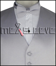 hot sale free shipping plain silver wedding dress shops(vest+bowtie+handkerchief)