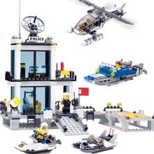 цена на New Building Blocks Police Station Helicopter Boat Model Bricks Toys Educational DIY Plastic Brick Gift For Children #E