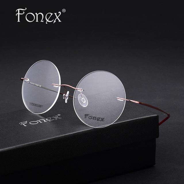 Fonex 2017 novas mulheres/feminino rodada óculos memória titanium óculos óculos de miopia frame ótico sem aro ultra leve rosa/roxo/vermelho