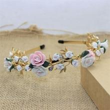 Fashion Baroque Hair Jewelry Crystal Hairbands Ceramic Rose Flower Women Wedding Crown Hair Accessories Headbands Bridal Tiara