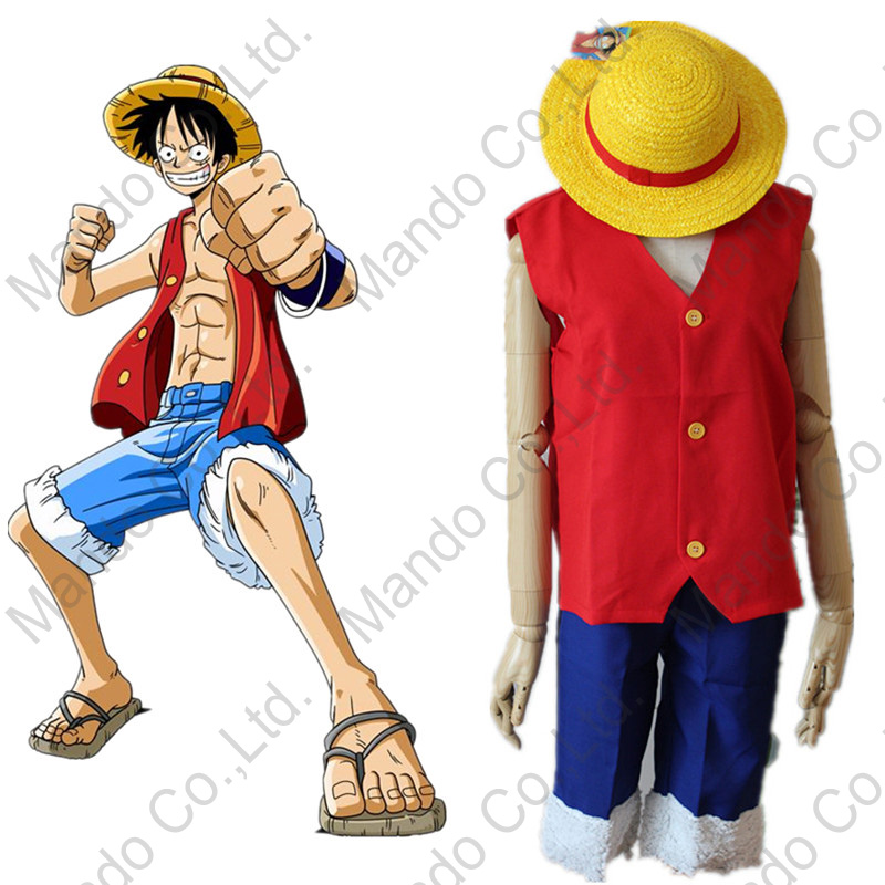 Anime One Piece Monkey D. Luffy 1th Cosplay Costumes Halloween outfit top + shorts + hat 3pcs suit set