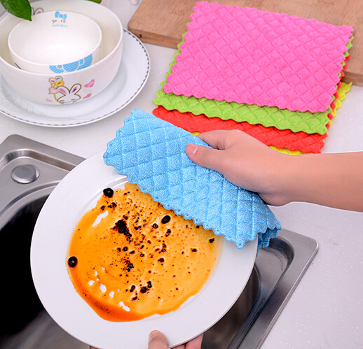 10pcs high efficient Anti-greasy dish cloth,Special Absorbent Microfiber washing towel,magic Kitchen cleaning cloth,Table mat