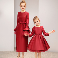 Spring New Family Mom And Daughter Dresses Matching Womens Baby Girls Bow knot Party Red Tutu Dress Clothes Outfit