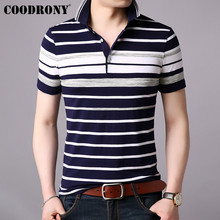 COODRONY Short Sleeve T Shirt Men 2019 Spring Summer Mens Striped Top Business Casual Turn-down Collar T-shirt S95025