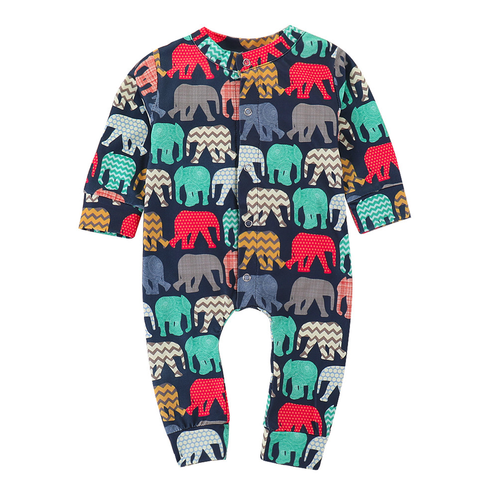 Baby Clothes Kid Girl Boy Clothes 2018 Newborn Baby Boy Girl Long Sleeve Cartoon Elephant   Romper   Jumpsuit Cloth Outfits