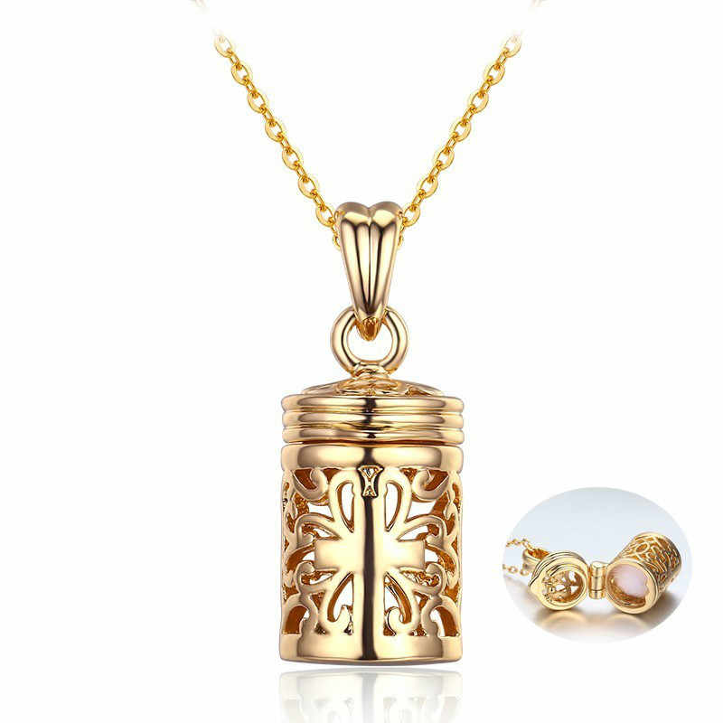 Retro Hollow Out Filligree Cross Perfume Bottle Essential Oil Diffuser Pendant Choker Necklace Women Pingente Gold Color Jewelry