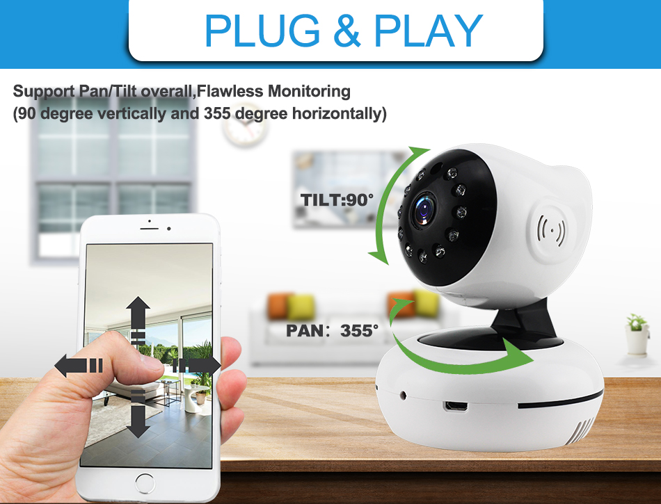 4XQ-720P Mega pixel Night Vision IR Webcam CCTV Camera WiFi Wireless HD IP Camera Pan Tilt Security TF Card Storage P2P H.264 Hot