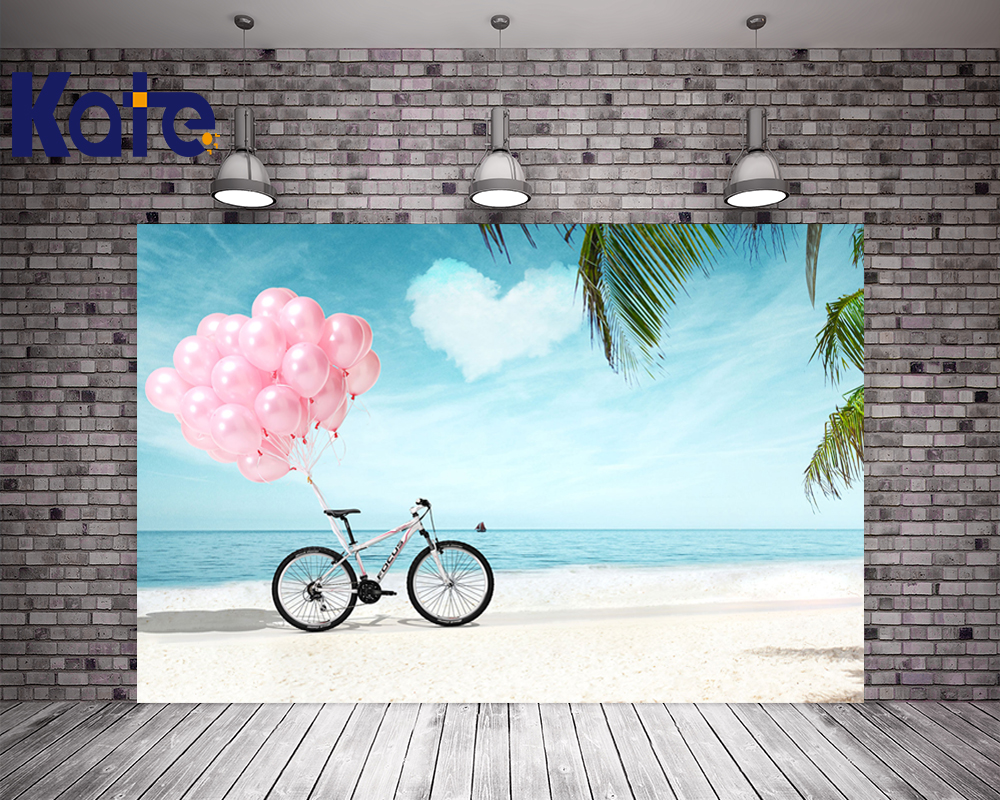 Kate Summer Beach Wedding Background Photography Bicycle Pink Balloons Photography Backdrops Photo Studio Seamless Backdrops kate flower wall pink backdrop romantic wedding photography backdrops spring photography backdrops large size seamless p