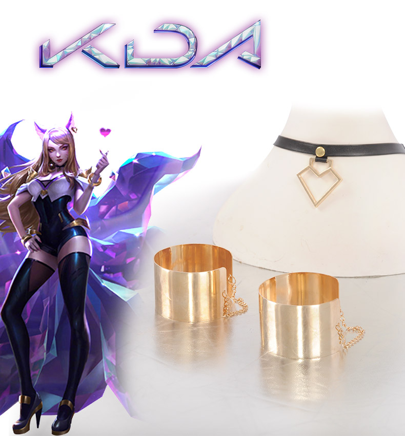 HOT KDA Ahri Cosplay Girl Boy Gold Wristguards Necklace K/DA Group Cosplay Accessories Decoration For Costume (Need Neck Around)