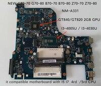 NM-A331/G70-80 cpu가 장착 된 lenovo B70-80 Z70-80 I3-4005 노트북 마더 보드 용 완벽한 ailg I3-4030