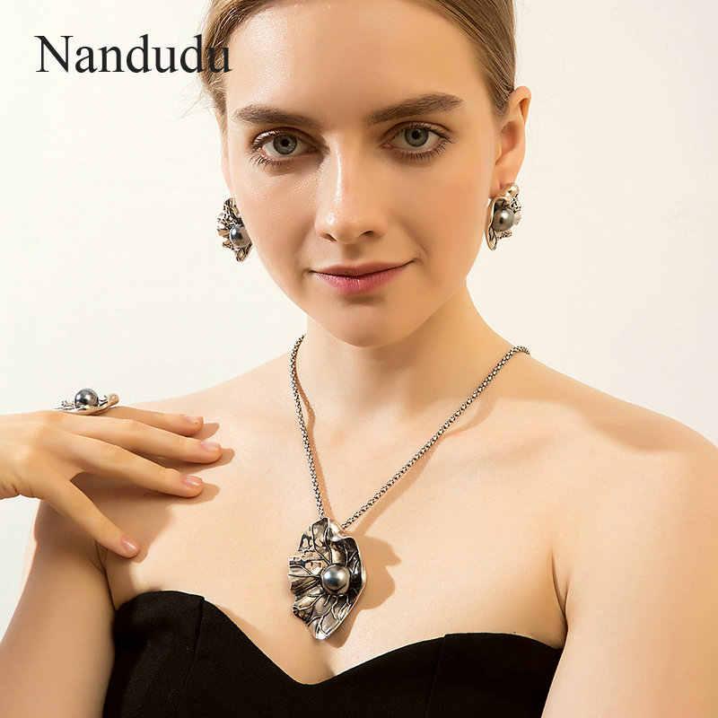 Nandudu Высокое качество Античный Черный жемчужный лист большие серьги кольцо ожерелье комплекты украшений для женщин Ретро панк Тайский серебряные ювелирные изделия