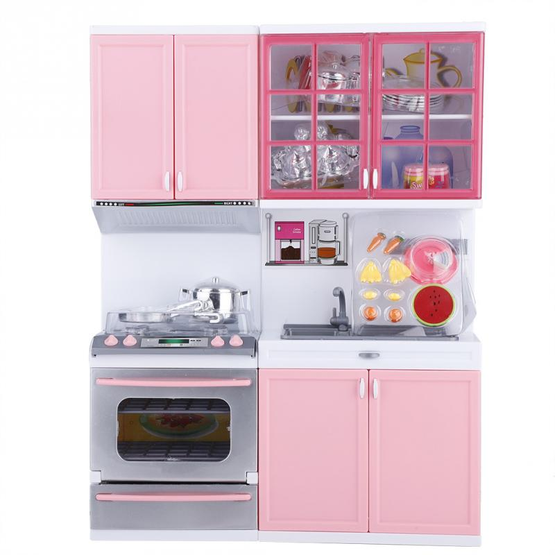 Mini Kitchen Set Children Pretend Play Cooking Set Pink Cabinet Stove Learning & Educational Interactive Toy For Baby