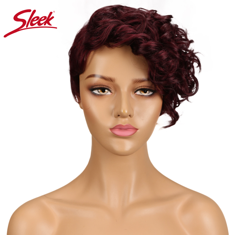 Sleek Short 100% Human Hair Wigs For Black Women Sassy Curl Human Hair Wig Remy Perruque Cheveux Humain Curly Wigs