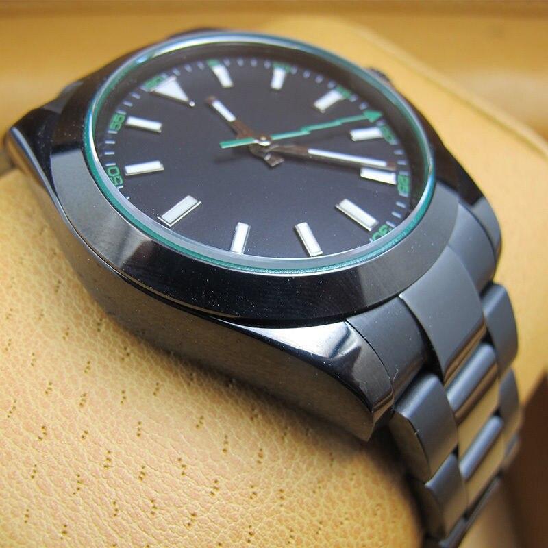 40 MM negro estéril Dial PVD caja de zafiro cristal verde Flash segunda mano marcas luminosas movimiento automático reloj para hombre b2A-in Relojes mecánicos from Relojes de pulsera    3