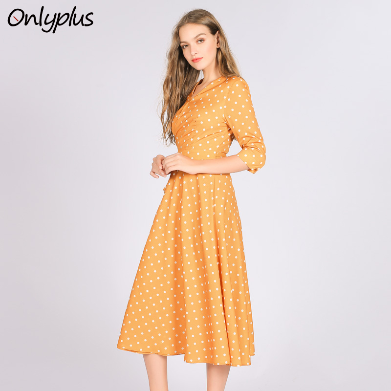ONLY PLUS yellow Polka Dot Dress V Neck Summer Autumn High Quality Wrap Dress Vintage Long Women Dresses Casual V