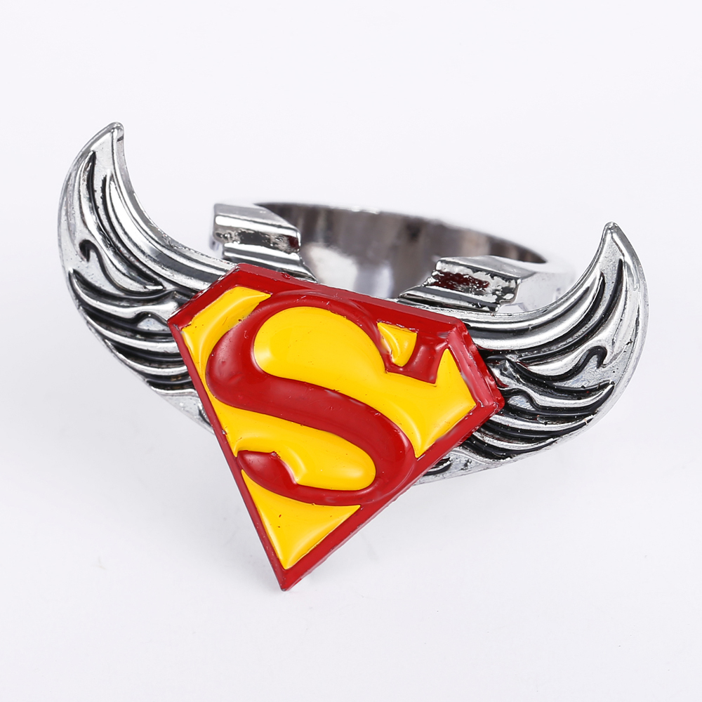 2015 New Movie Superman Logo Rings Jewelry Stainless Steel Rings Boy