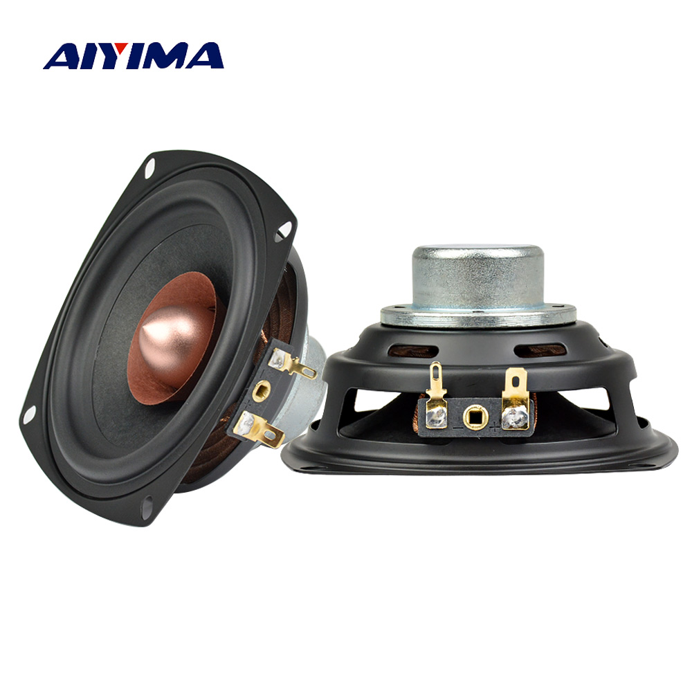 AIYIMA 2Pcs 4Inch Audio Portable Speakers Full Range Middle Bass 4Ohm 25W Midrange Speaker DIY For