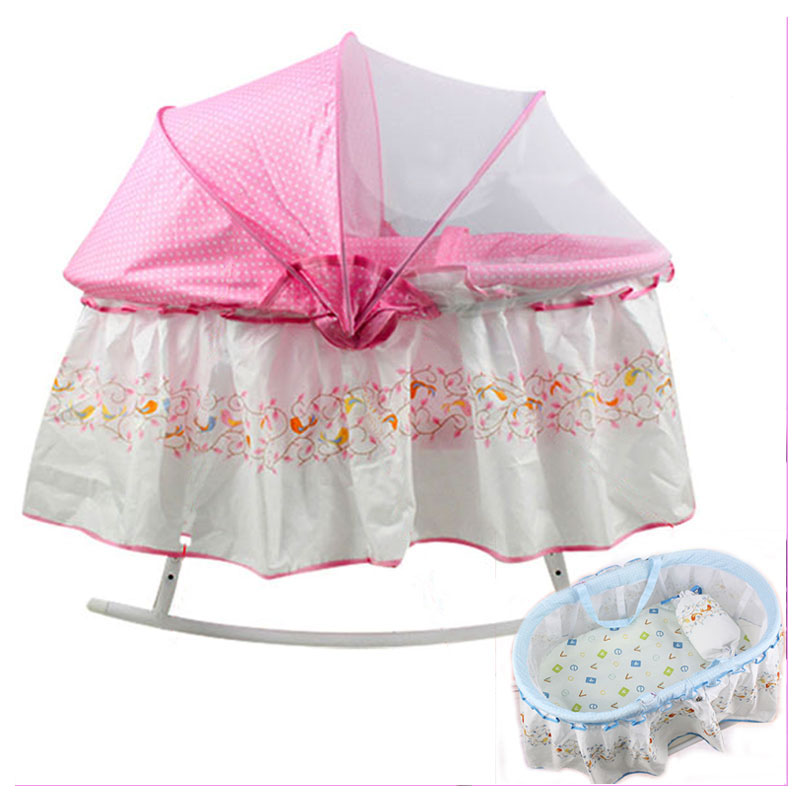 Newborn Baby Crib Netting Portable Baby Crib Bedding Sleeping Basket Bassinet Hand Cradle Baby Bed with Mosquito Net corn husks cradle no paint wood frame cotton baby bassinet with mosquito net and mat steel frame baby cradle baby rocking crib
