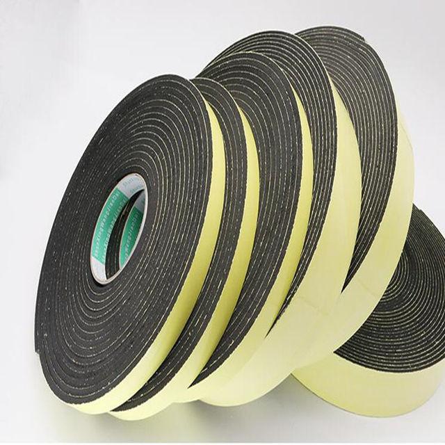 Strong adhesion  EVA black sponge foam  rubber tape  anti collision seal strip 1, 2, 3mm thick