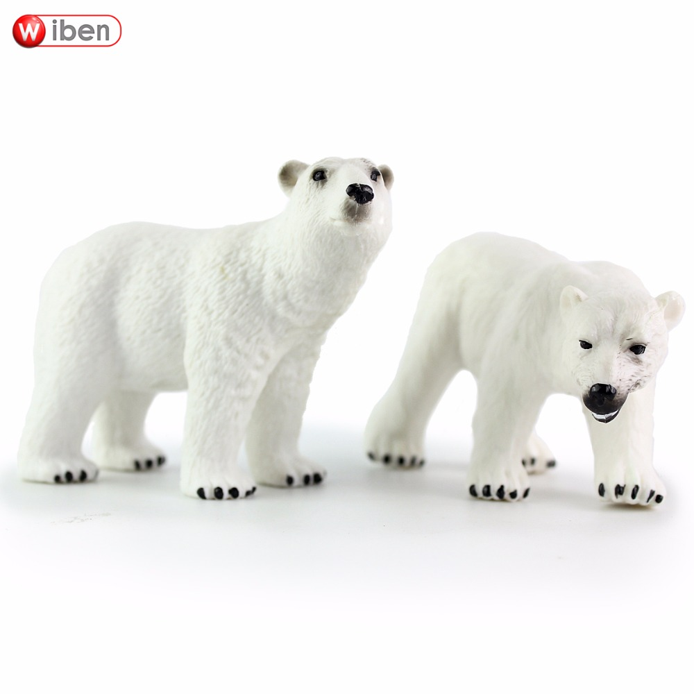 Wiben Polar Bear Solid PVC High Quality Simulation Animal Model Action & Toy Figures Educational for Boys Gift easyway sea life gray shark great white shark simulation animal model action figures toys educational collection gift for kids