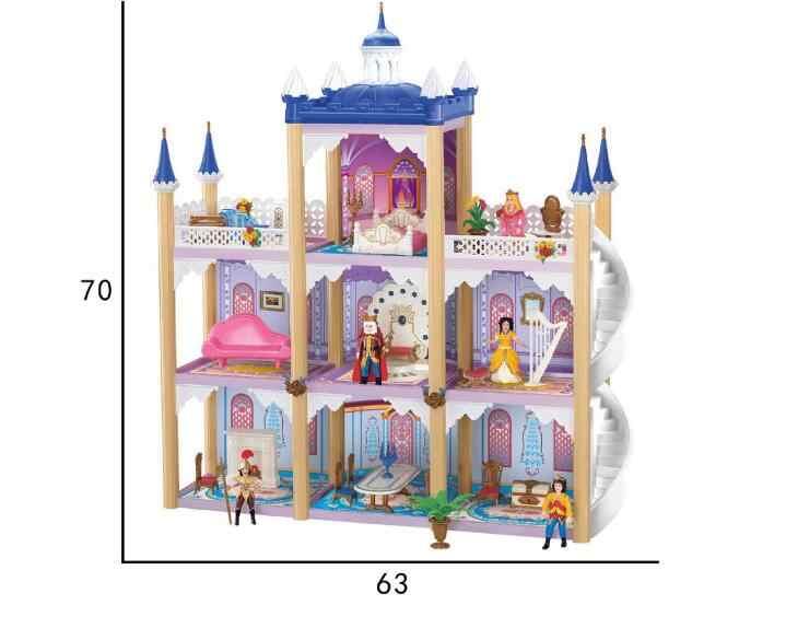 Diy kit dollhouse brinquedo escala em miniatura modelo quebra-cabeça castelo casa de boneca, único tamanho grande casa brinquedo com móveis para o presente de ano novo