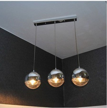 Free Shipping Hot Selling 3 Balls Together Plated Glass Living Room Pendant  Lamp Mirror Ball Light