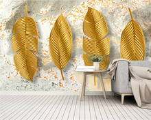 beibehang Custom size wall papers home decor Modern minimalist 3D three-dimensional golden leaves Nordic TV background wallpaper