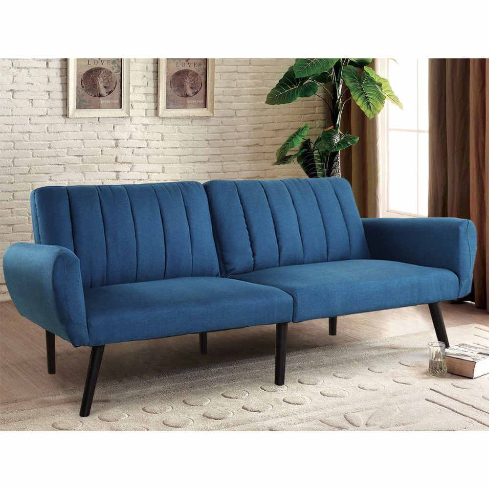 Giantex Sofa Futon Bett Schlaf Couch Cabrio Matratze Premium Leinen ...