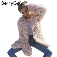 BerryGo Fashion streetwear large sizes long coat female 2018 Pink casual autumn coat outerwear Warm winter faux fur coat women
