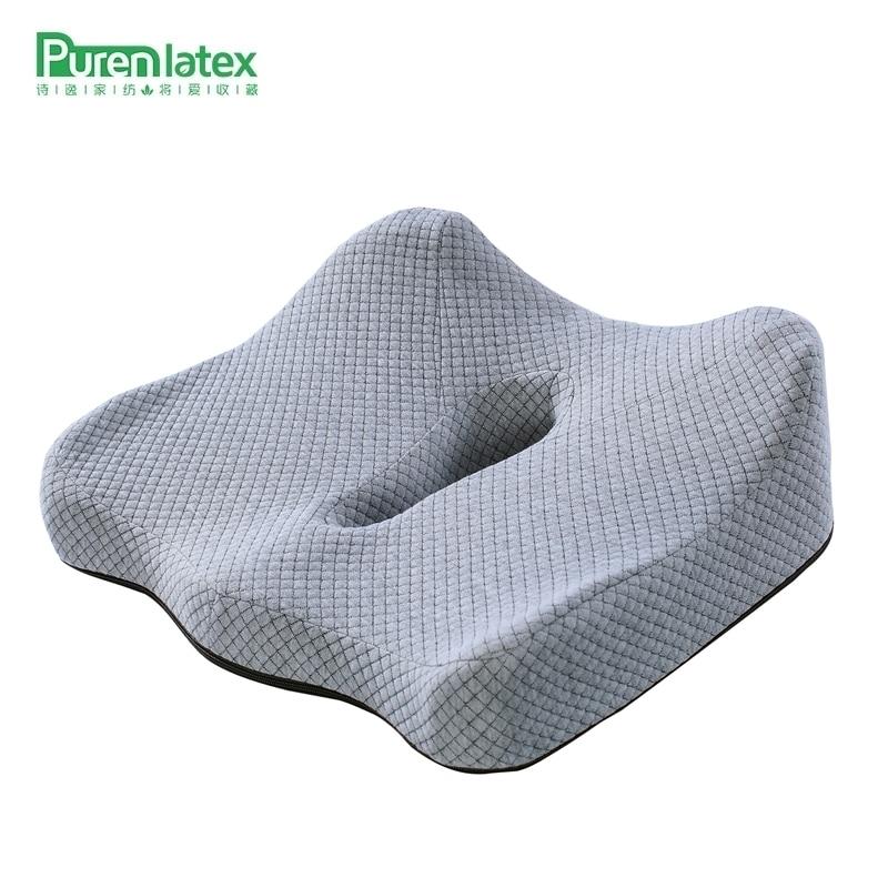 PurenLatex Memory Foam Cushion On Chair Sofa Car Seat Body Pillow Orthopedic Coccyx Pad Wheelchair Mats Hemorrhoid Treat Cushion