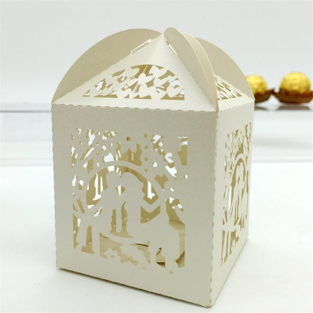 laser cut bride and groom gift candy box souvenirs wedding party