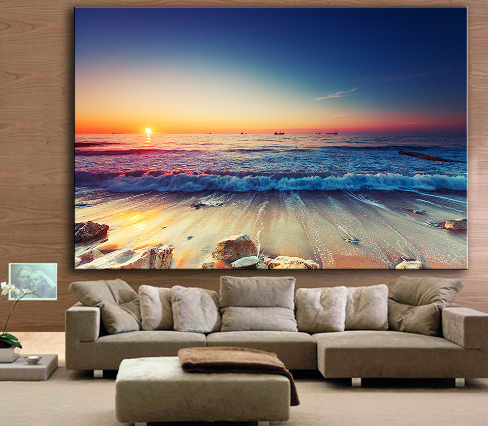 Living room oil paintings - Free Shipping Large Size Printing Oil Painting Wall Painting Beautiful Beach Sunset Wall Art Picture For Living Room Painting