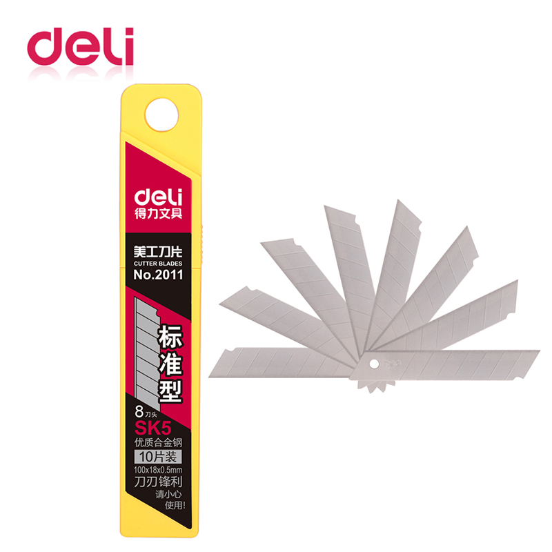 Deli 10pcs/box Utility Knife Cutter Blades Replacement High-carbon Steel Blade 18mm Office School Outdoor Supplies